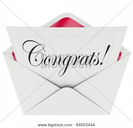 Congrats Word Letter Card Note Congratulations Praise