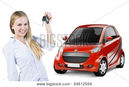 Young Woman Holding a Car Key and Red 3D Car