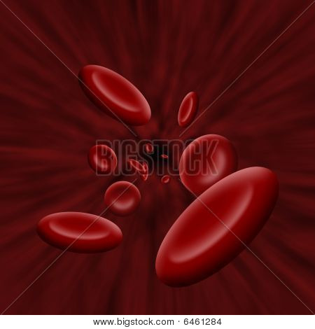 Platelet Cells Flowing Through Bloodstream
