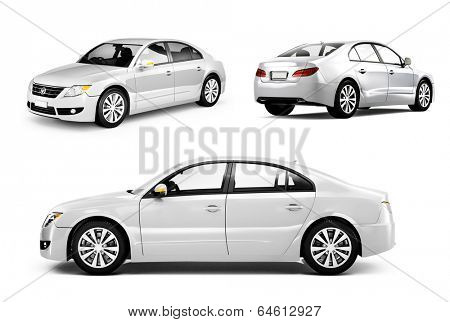 Three Dimensional Image of a White Car