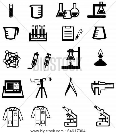 Silhouette Science, Chemistry, And Engineering Tool Icon Set (vector)