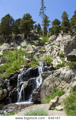 Sierra Waterfall And Blue Skies