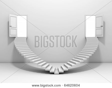Steps and door