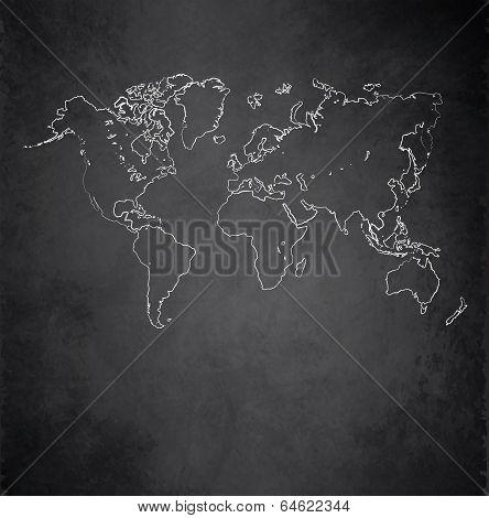 World map blackboard chalkboard raster