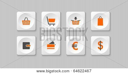 Orange And Gray Eshop Buttons
