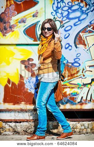 Woman With Painted Wall
