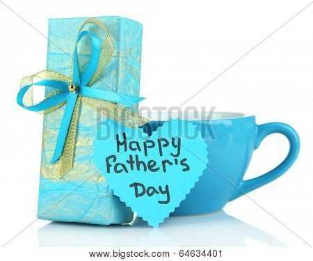 Happy Fathers Day tag with gift box and cup, isolated on white