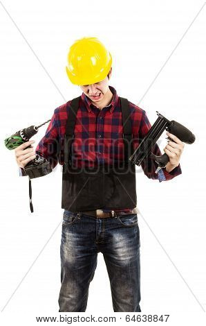 man with powertools on a white background