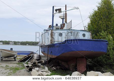 Rusted Steel Boat In Dry Dock