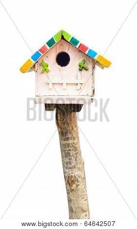 Wooden Bird House On White Background