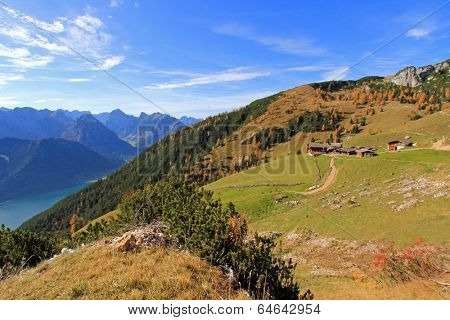 ROFAN, AUSTRIA -  OCTOBER 26 : Hiking trail in Rofan, Austria on October 26, 2013 during the Autumn season.