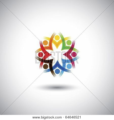 Excited, Motivated Group Of People, Children Or Employees - Vector Graphic