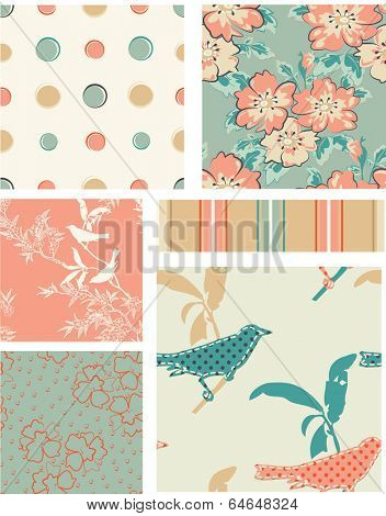 Seamless Vector Floral Patterns. Use as fills, digital paper, or print off onto fabric to create unique items.