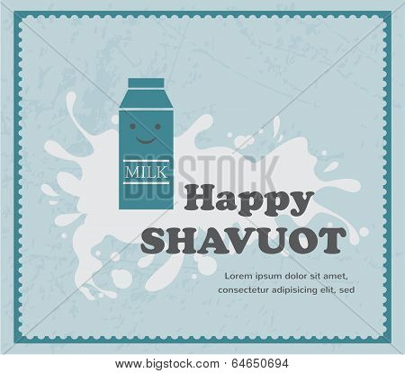 retro card with milk carton on white splash, Shavuot jewith holiday