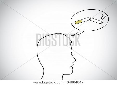 Young Male Man Person Head Silhouette Thinking Positively Of Quiting Smoking Thought.