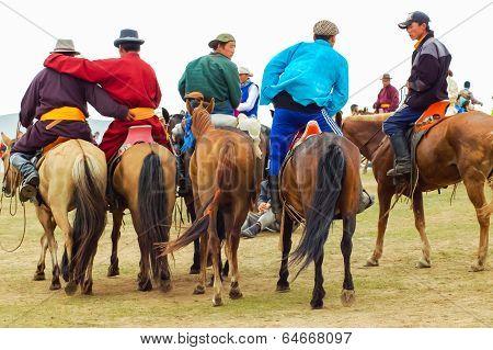 Group Of Horseback Spectators, Nadaam Horse Race