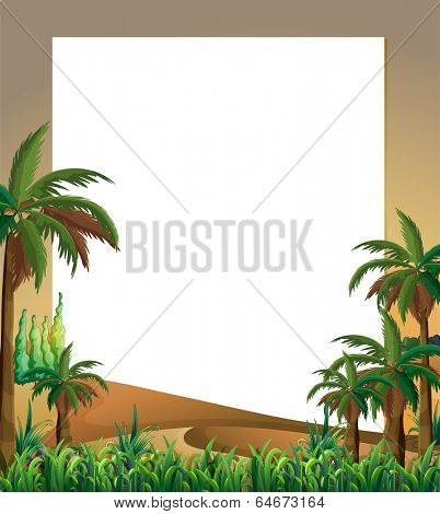 Illustration of an empty template with a dessert and plants at the bottom