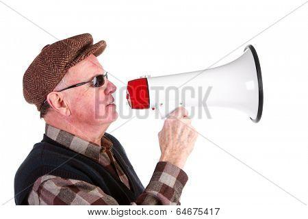 Senior Man Shouting Through Megaphone Over White Background