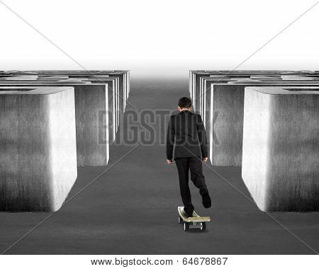 Skateboarding Money Skateboard Through Maze