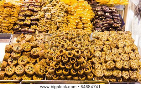 Turkish Sweets in Spice Bazaar, Istanbul City poster