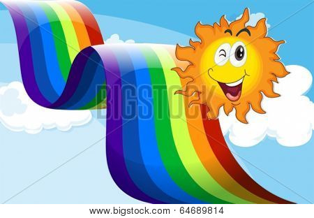 Illustration of a sky with a rainbow and a happy sun
