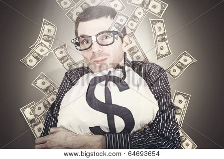 Rich Business Man With Bag Loads Of Money