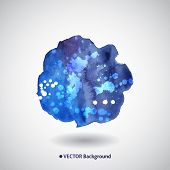 Watercolor blue background with blots and splatter poster