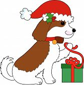 A Cavalier King Charles Spaniel is opening a Christmas present poster