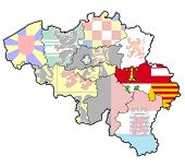 liege on administration map of belgium with flags poster