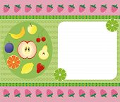 Bright fruit banner with multi-coloured fruits and an ornament poster