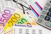 a business plan for starting a business. ideas and strategies for self-employment. euro banknotes and calculator poster