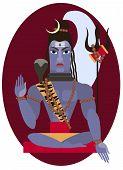 vector illustration of Hindu deity lord Shiva poster
