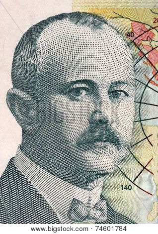 SERBIA - CIRCA 2012: Jovan Cvijic (1965-1927) on 500 dinara 2012 banknote from Serbia. Serbian geographer, president of the Serbian Royal Academy of Sciences and rector of the University of Belgrade.