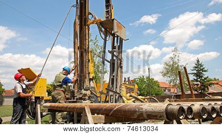 Drilling Rig Workers Operating Machinery. Oil and gas industry. poster