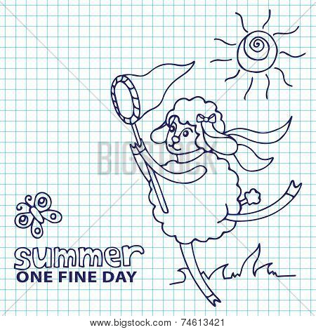 Doodle Sketch in the style of children's hand drawing . Cute sheep girl l catches butterflies.Summer Sketchy notepaper. Symbol 2015 year poster