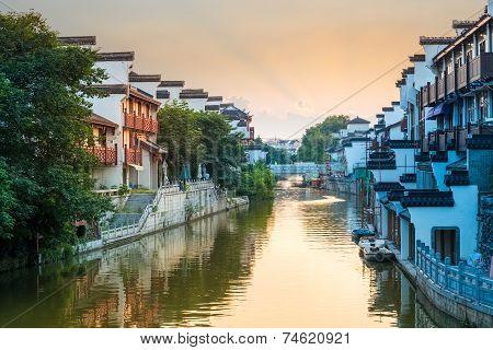 Beautiful Nanjing Qinhuai River In Sunset