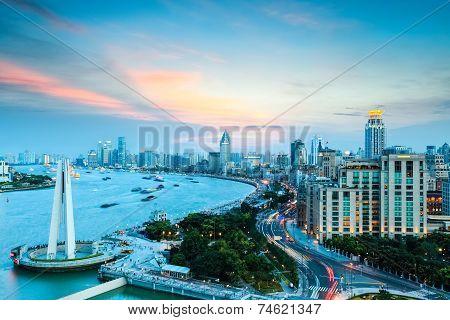 Shanghai Bund And Huangpu River In Sunset