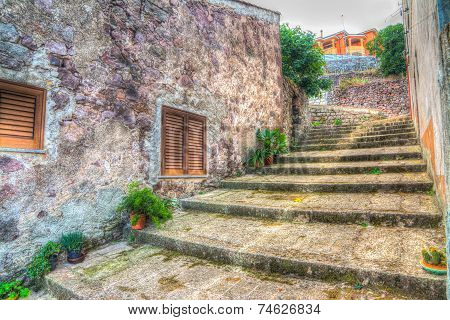 Stone Stairway And Ruined Brick Wall In Hdr Tone