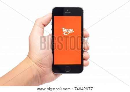 Pavlograd Ukraine- October 25 2014: Tango is a free messaging service that allows you to connect get