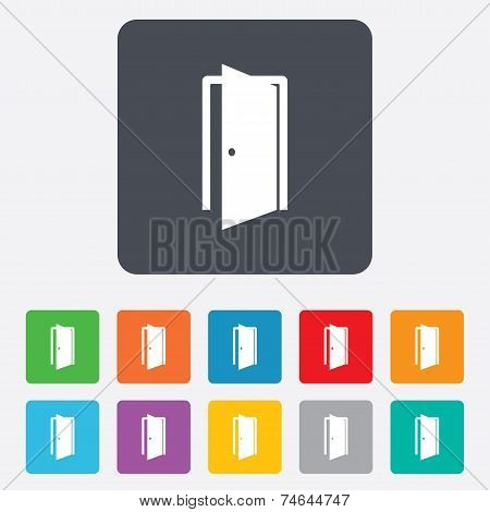 Door sign icon. Enter or exit symbol. Internal door. Rounded squares 11 buttons. Vector poster