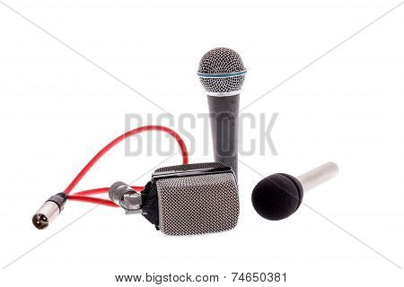 studio recording groups of vintage microphones for lead vocal on live gig or for drums music instruments for performance isolated on white background poster