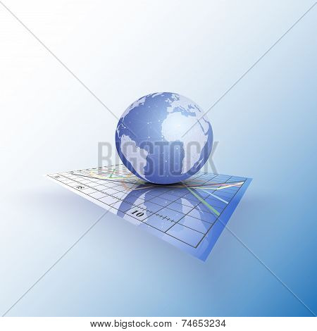 Globe world on the chart. Abstract vector illustration