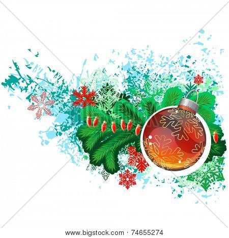 Modern trendy christmas picture with green branch of fir and glass ball. Vector illustration. poster
