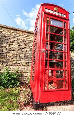 Traditional Red Telephone Box In Uk