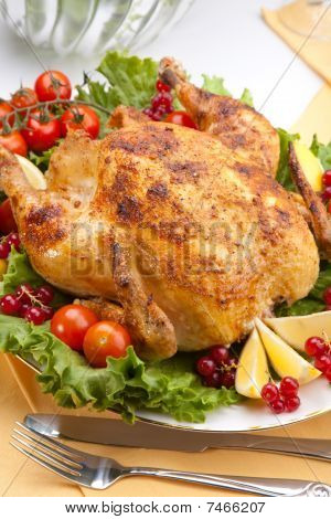 Whole Roasted Chicken On Table