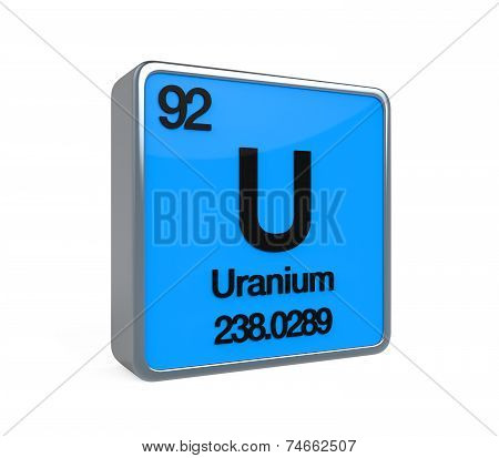 poster of Uranium Element Periodic Table isolated on white background. 3D render