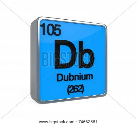 Dubnium Element Periodic Table isolated on white background. 3D render poster