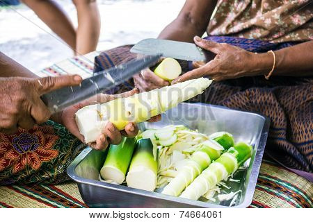 Chopped bamboo shoots for a cooking at home poster