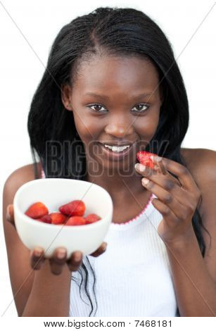 Radiant Afro-american A Woman Eating Strawberries