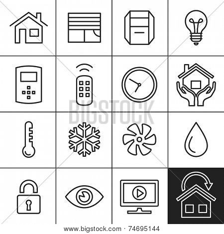 Smart Home and Smart House Icons. Home automation control systems. Simplines series vector icons